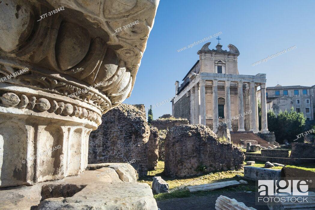 Stock Photo: Looking across The Roman Forum towards the Temple of Antoninus and Faustina, now the church of San Lorenzo in Miranda, Roman Forum, Rome, Italy.