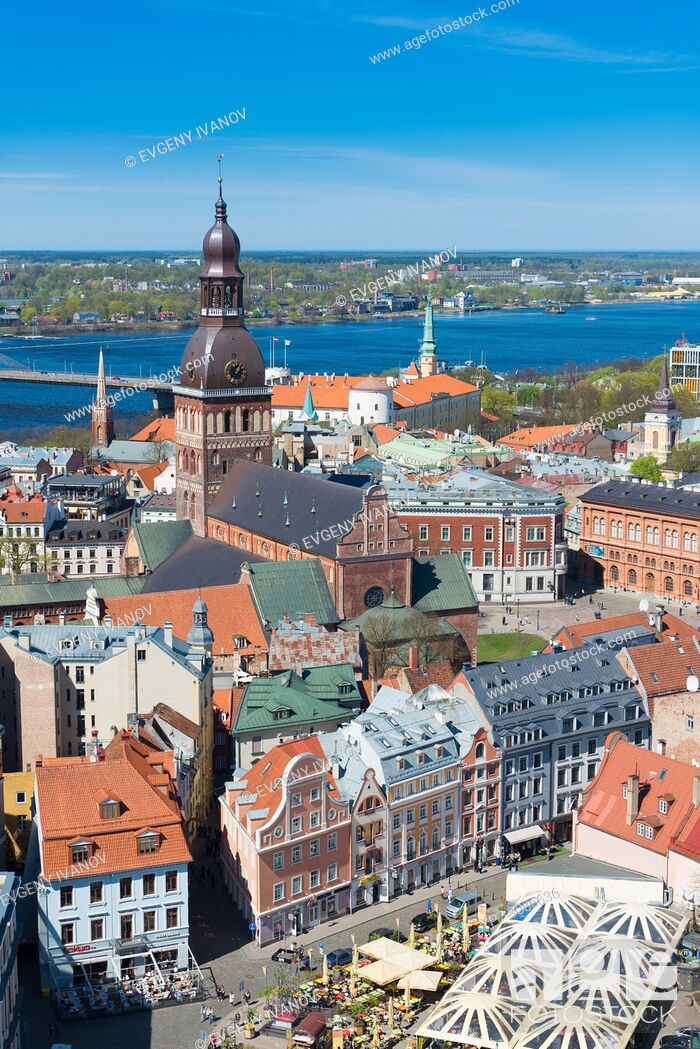 Stock Photo: View of Riga with Riga Dome cathedral and the market square, Riga, Latvia.