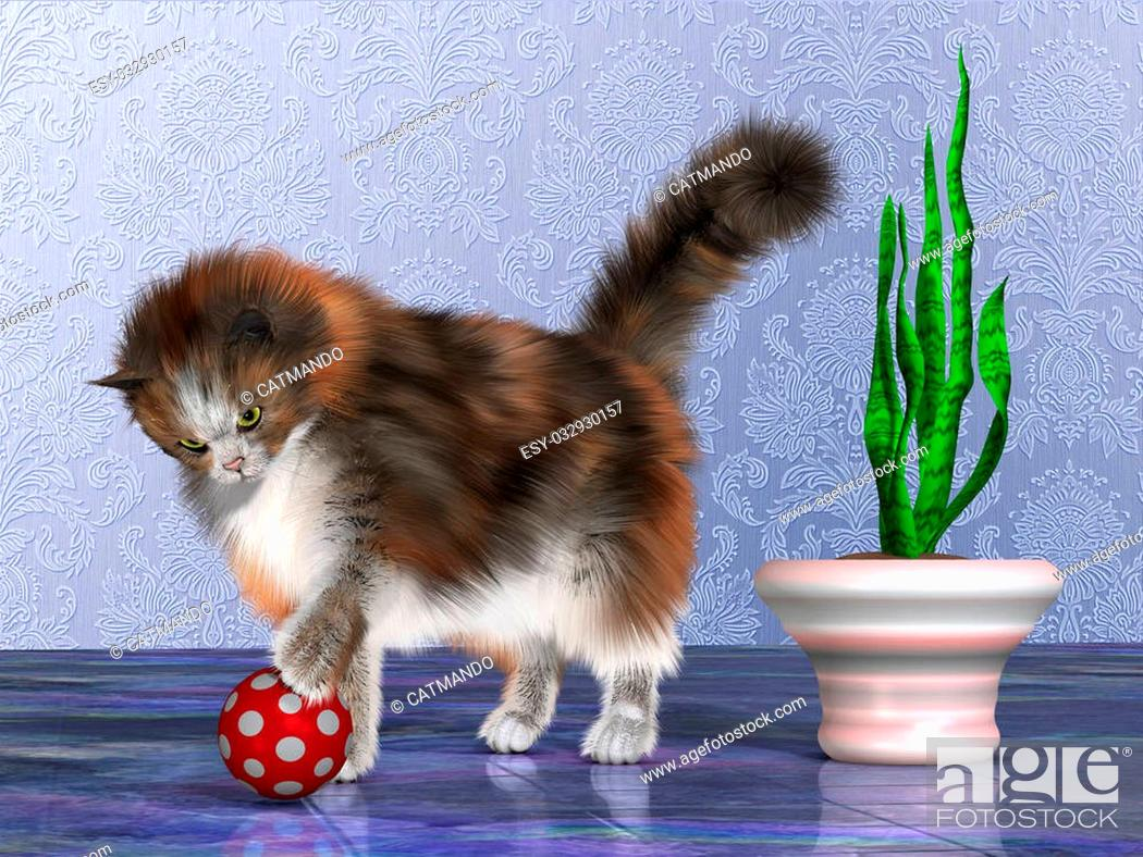 Stock Photo: Oscar, a calico cat, plays with a red ball on a purple marble floor.