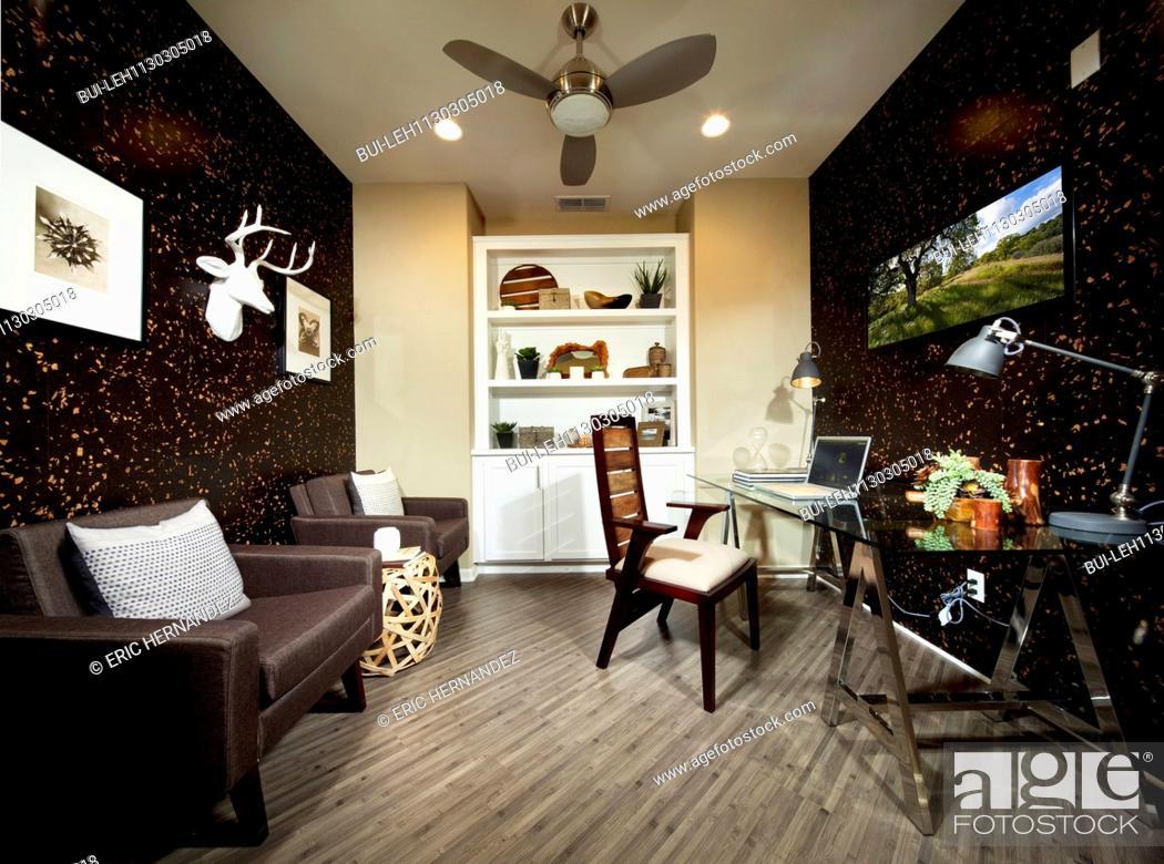 Interior of modern decor home office, Milpitas, California, USA ...
