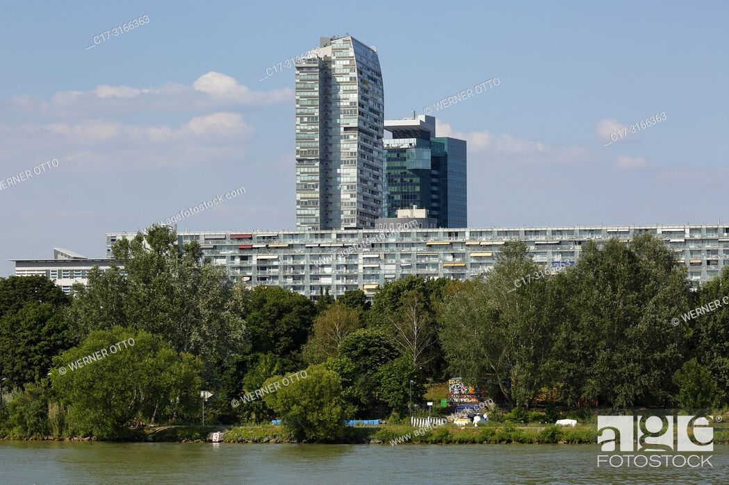 Stock Photo: Vienna, Wien, Austria, A-Vienna, Danube, Federal Capital, Donau City, Mischek Tower and apartment block, settlement, residential tower, behind the Saturn Tower.