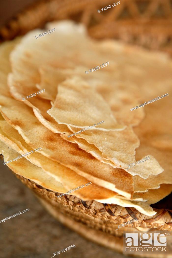 Stock Photo: Pane Carasau, a traditional local bread, Sardinia, Italy.