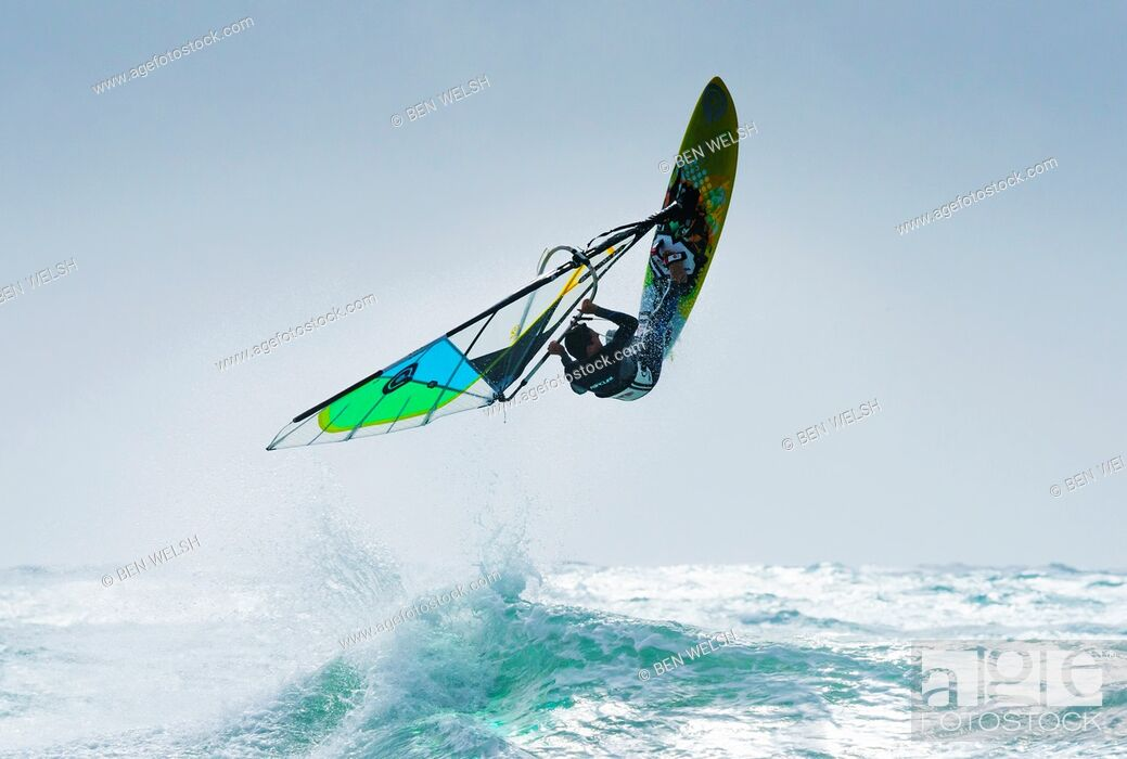 Stock Photo: Windsurfing. Tarifa, Cadiz, Costa de la Luz, Andalusia, Spain.