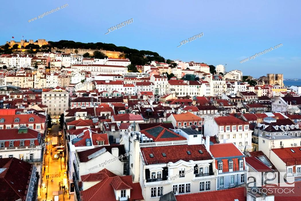 Stock Photo: S. Jorge Castle and the Cathedral, Lisbon, Portugal, Europe.