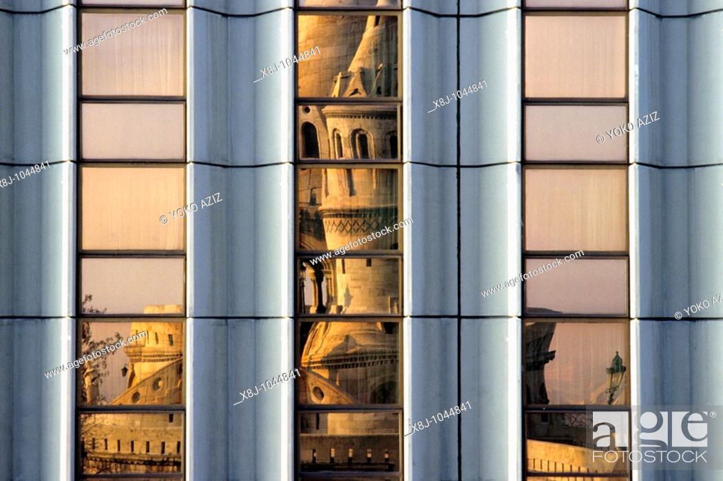 Stock Photo: budapest, Reflected of the Fishermen's Bastion.