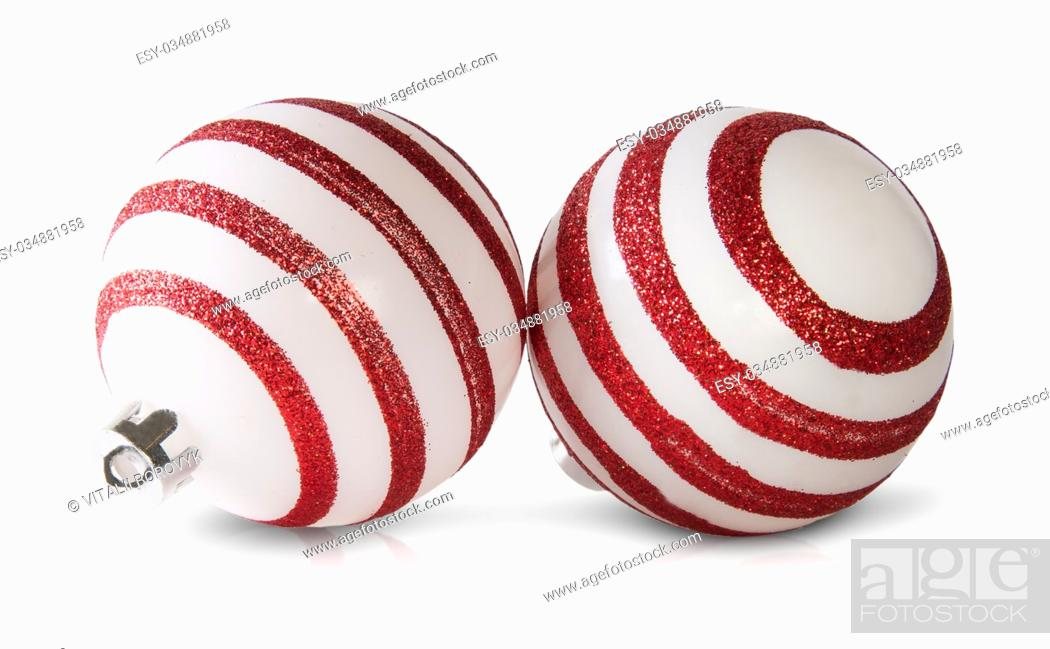 Stock Photo: Two Red And White Christmas Balls Isolated On White Background.