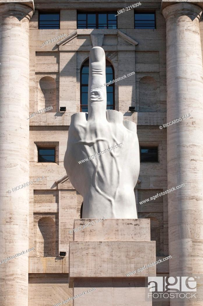 54350a5dd3 Stock Photo - Italy, Lombardy, Milan, Piazza Affari Square, Stock Exchange  and Maurizio Cattelan Sculpture.