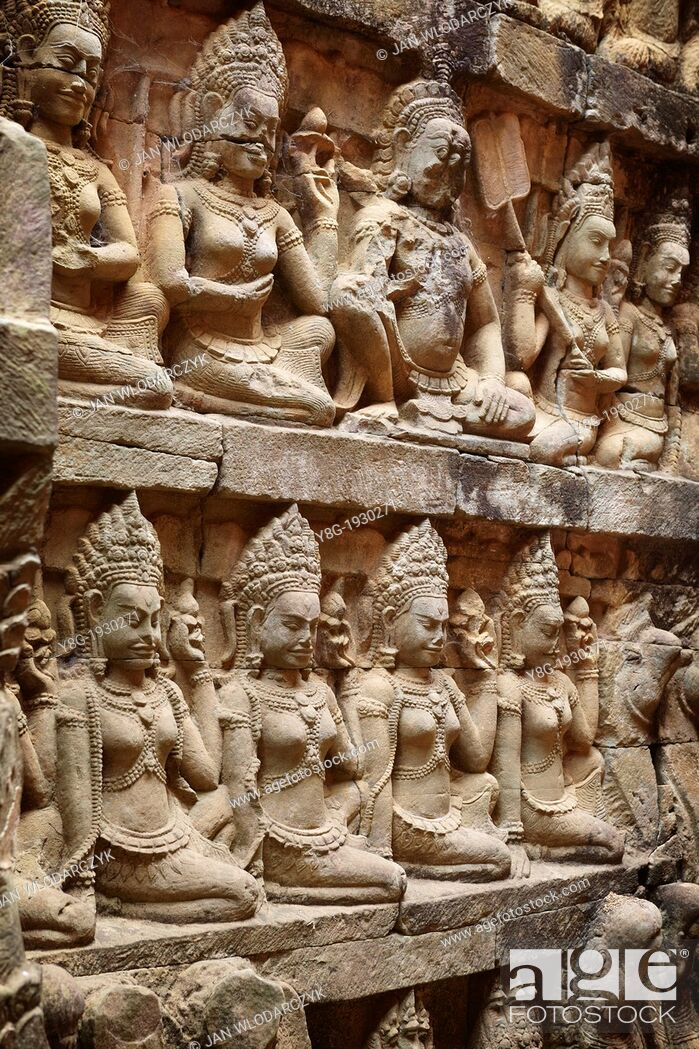 Stock Photo: The Terrace of the Leper King - sculptures of the wall of temple, Angkor Temple Complex, Siem Reap Province, Cambodia.