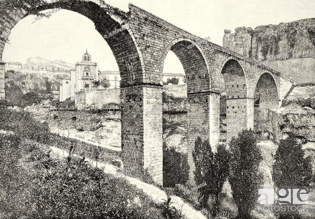 Stock Photo: Old 19th century bridge of San Pablo in Cuenca, Castilla La Mancha, Spain. Europe. Old XIX century engraved illustration from La Ilustracion Española y.