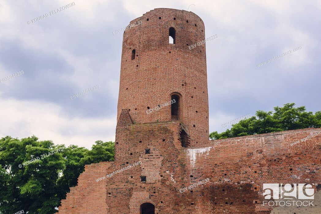 Stock Photo: Tower of gothic castle of the Masovian Dukes located in Czersk village, Masovian Voivodeship in Poland.