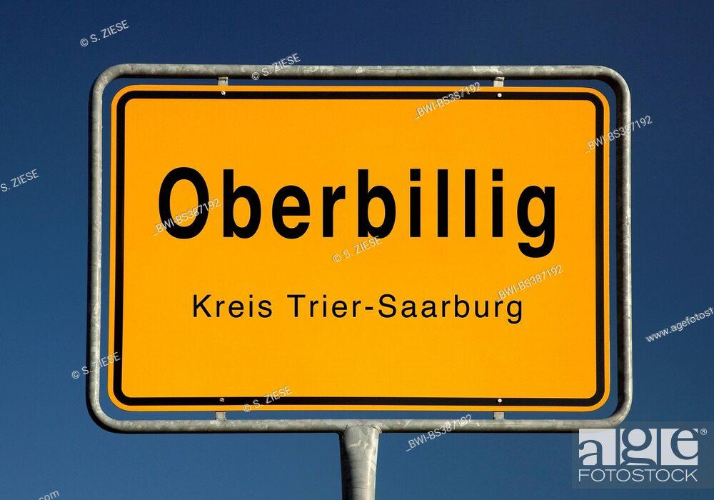 Imagen: Oberbillig place name sign, Germany, Rhineland-Palatinate, Landkreis Trier-Saarburg, Oberbillig.