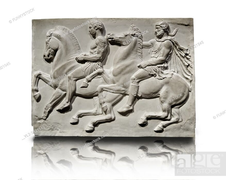 Stock Photo: Releif Sculptures from the frieze around the Parthenon Block IV. From the Parthenon of the Acropolis Athens. A British Museum Exhibit known as The Elgin Marbles.