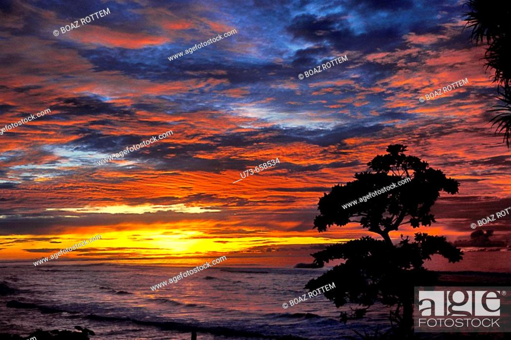 An amazing sunset in the southern island of Angur, Stock Photo