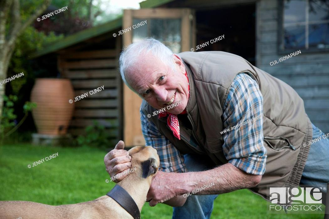 Stock Photo: Senior man, stroking pet dog in garden.