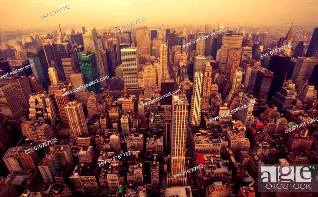 Stock Photo: Bird Eye View Of Manhattan, New-York.