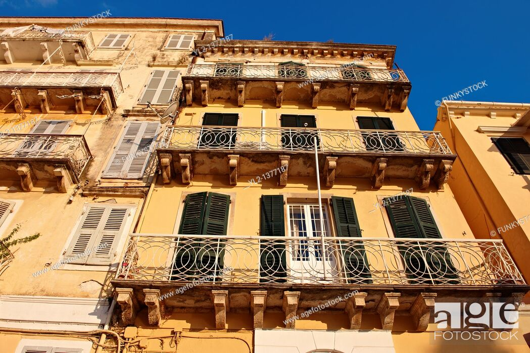 Stock Photo: Italian Style aprtments of Corfu City, Greek Ionian Islands.