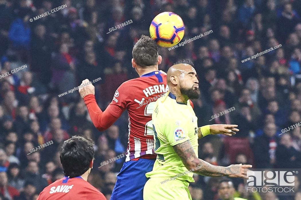Stock Photo: Arturo Vidal (midfielder; Barcelona) before La Liga match between Atletico de Madrid and F.C. Barcelona at Wanda Metropolitano on November 24, 2018 in Madrid.