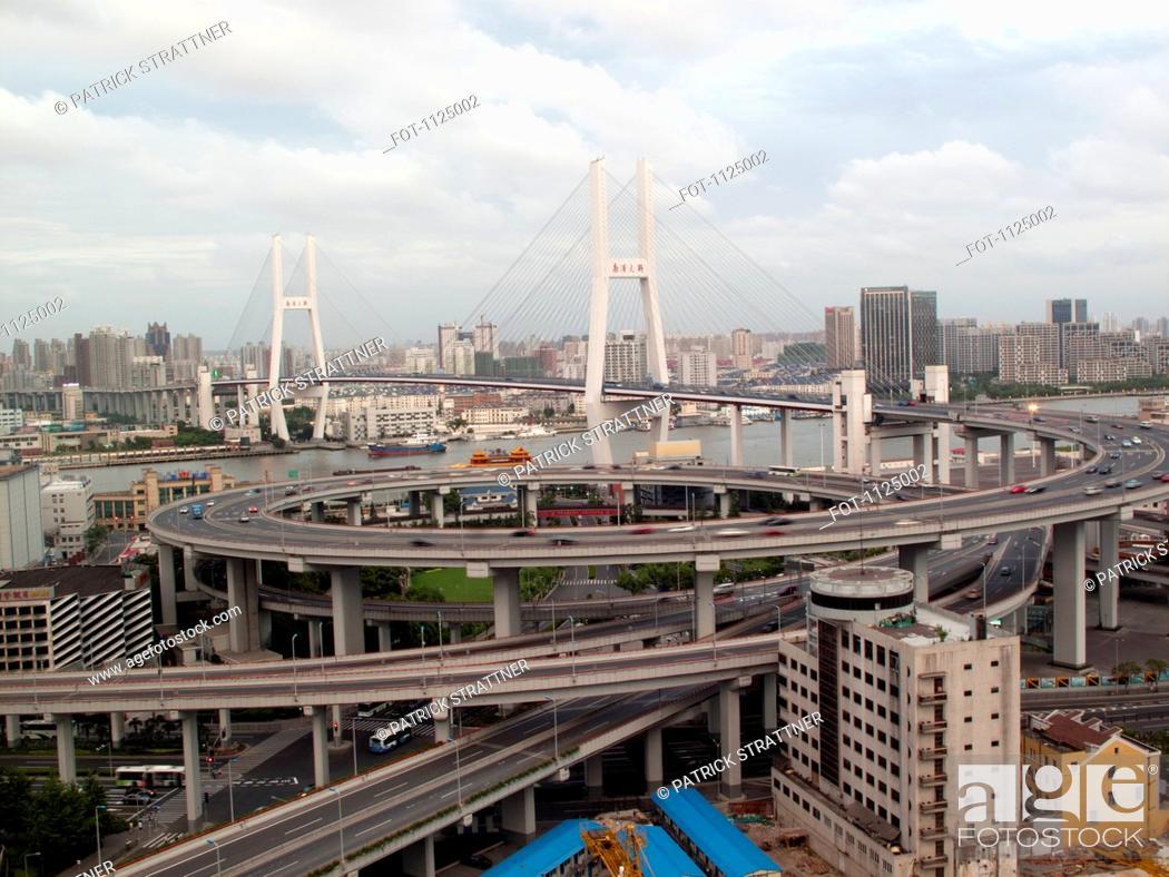 Stock Photo: Multiple lane highway leading onto Nanpu Bridge, Shanghai, China.