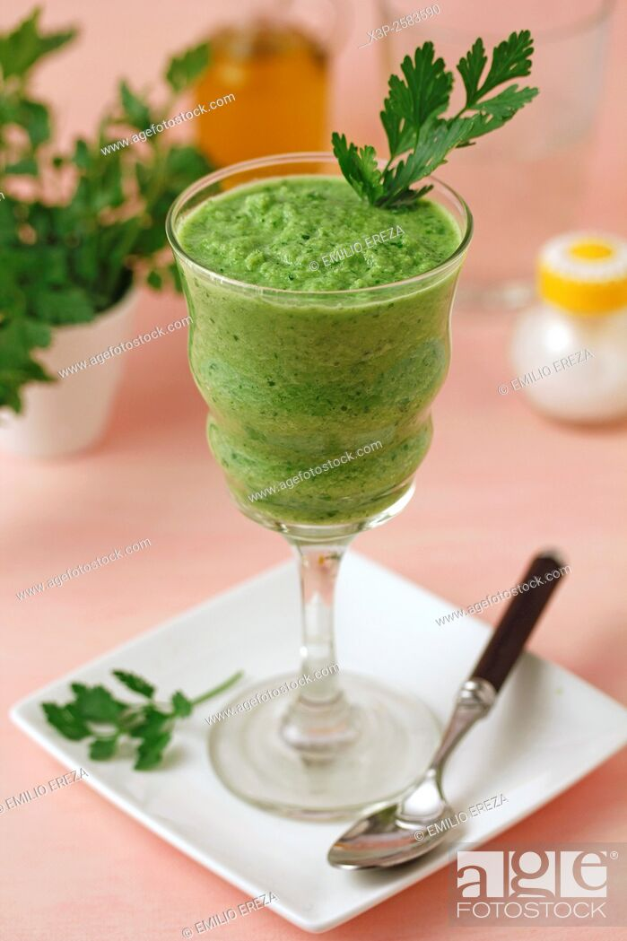 Stock Photo: Green gazpacho.