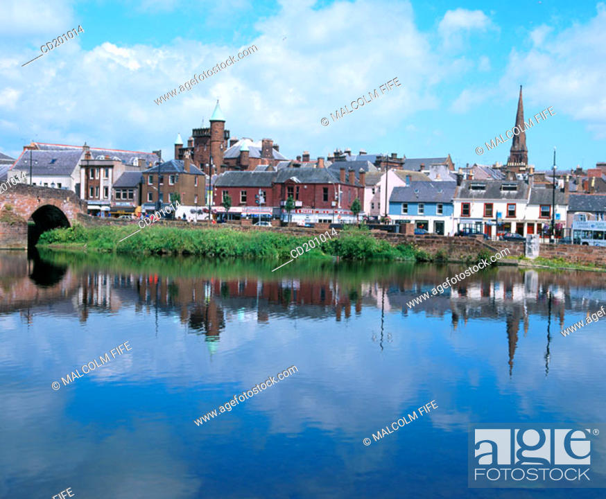 Stock Photo: River Nith and Town Centre. Dumfries. Scotland.