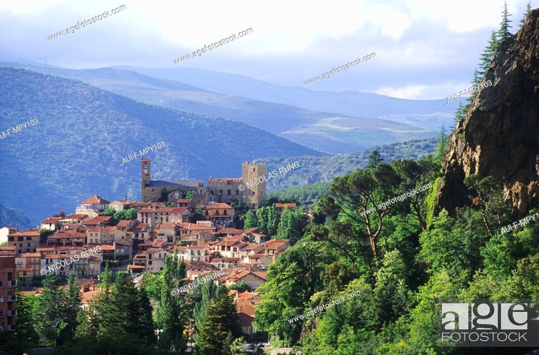 Stock Photo: France - Pyrenees Orientales - Vernet les bains - Le conflent.