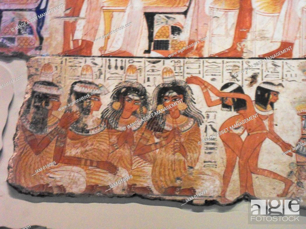 Stock Photo: An entire wall of the tomb-chapel showed a feast in honour of Nebamun. Naked serving girls and servants wait on his friends and relatives.