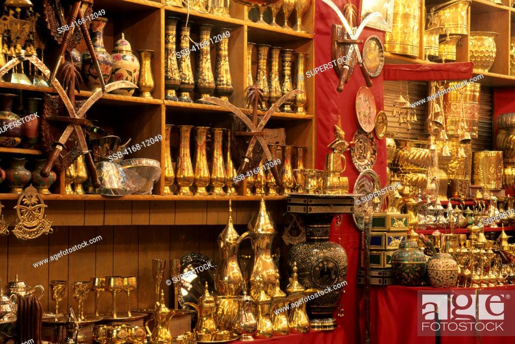 Saudi Arabia, Riyadh, Souk Bazaar In Evening, Brass Wares, Stock