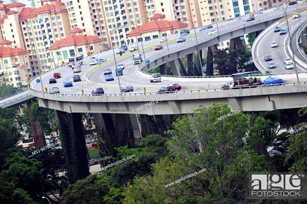 Stock Photo: flyover nearby a residential district  singapore  asia.