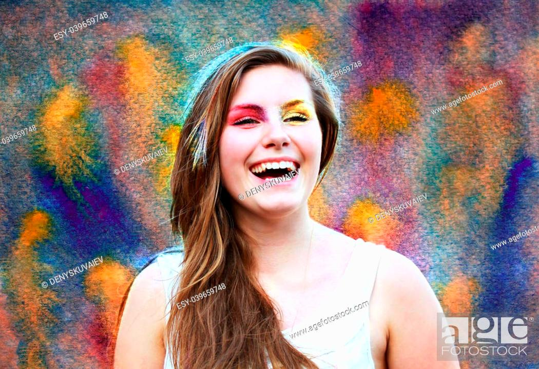 Photo de stock: Happy girl on background of the watercolor parer .