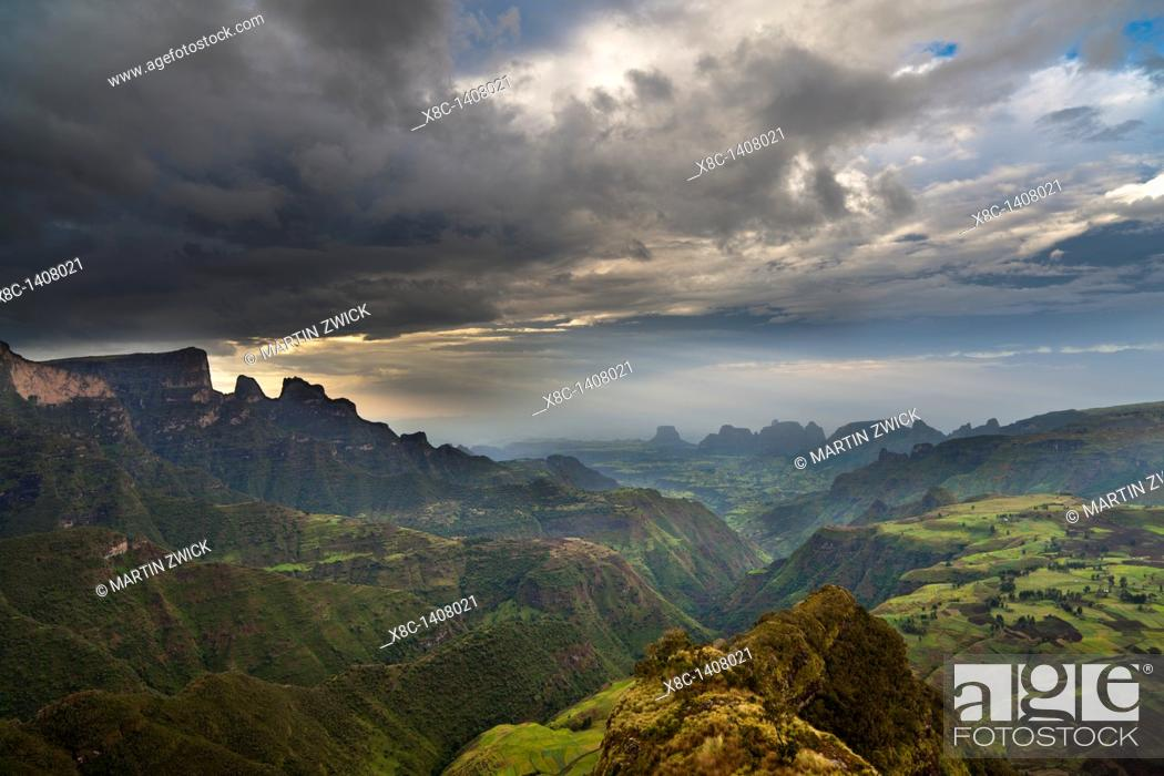 Stock Photo: Landscape in the Simien Mountains National Park  AFter sunset at the escarpment near Chennek with a view of the escarpment.