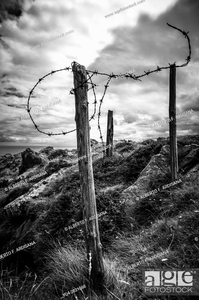 Stock Photo: Barbed wire on the coast of Llanes.Asturias.España.