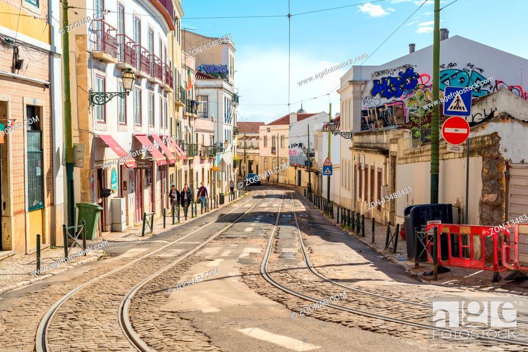 Stock Photo: Tracks of the famous tramline twenty-eight in the Alfama district of Lisbon.