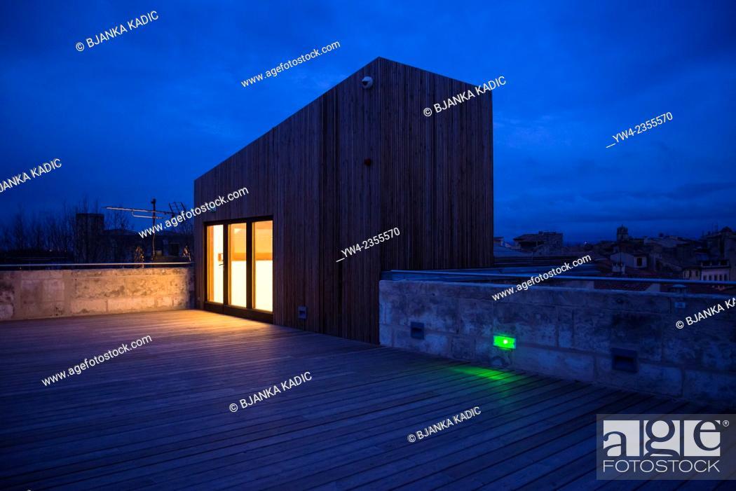 Stock Photo: Illuminated roof extension, Fondation Vincent van Gogh, Arles, Bouches-du-Rhone, France.