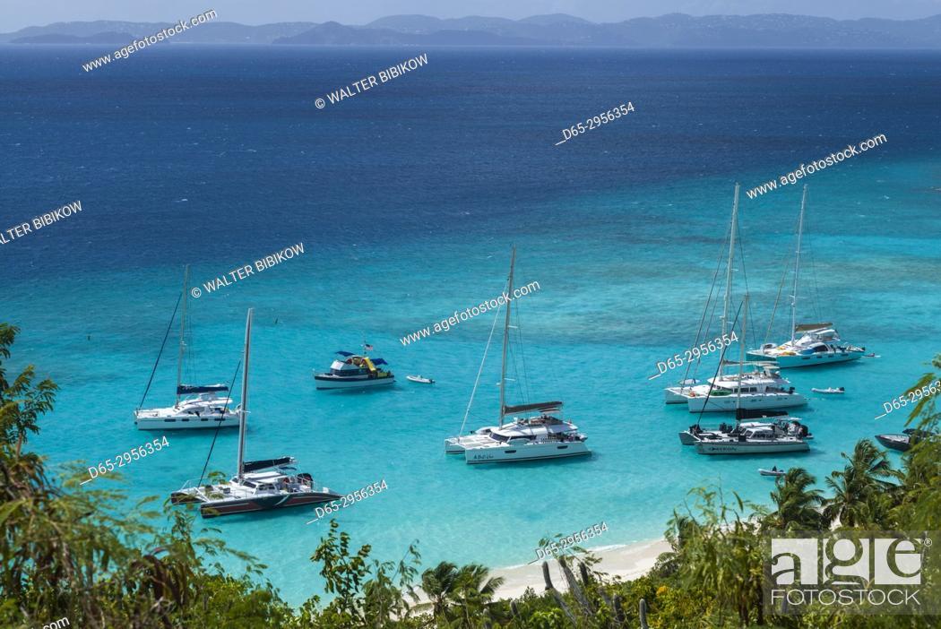 Stock Photo: British Virgin Islands, Jost Van Dyke, White Bay, elevated view.