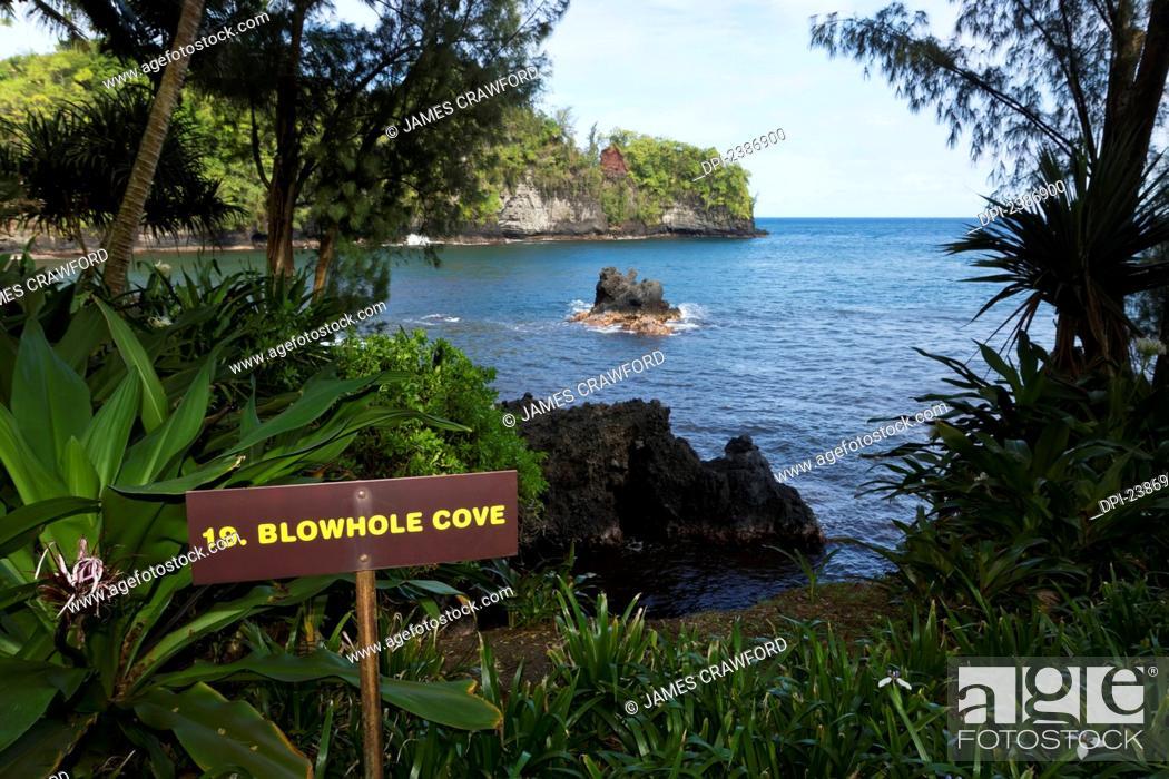 Stock Photo: Blowhole Cove in Onomea Bay; Island of Hawaii, Hawaii, United States of America.