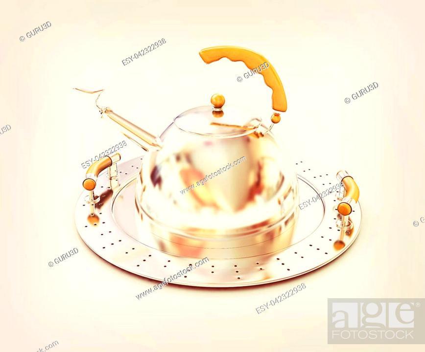 Photo de stock: Chrome teapot on platter on a white background. 3D illustration. Vintage style.