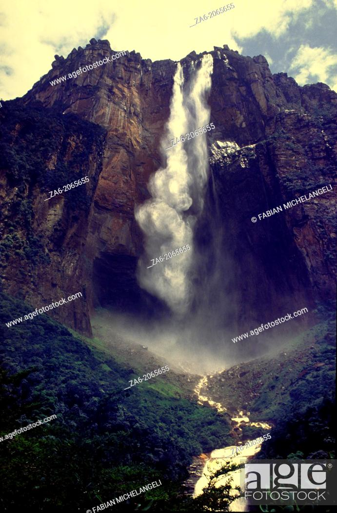Stock Photo: View from below of Angel Falls, the highest waterfall in the world leaping a 1000 meters from the summit of Auyantepuy. Canaima National Park, Bolivar State.
