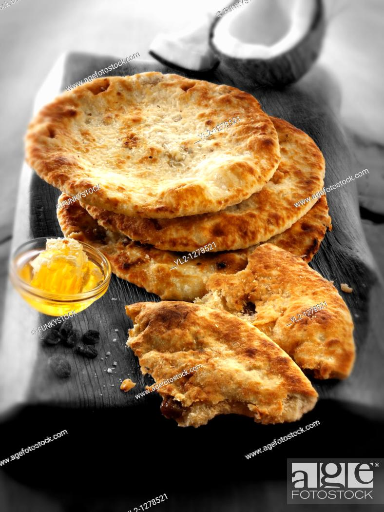 Stock Photo: Peshwari naan bread.
