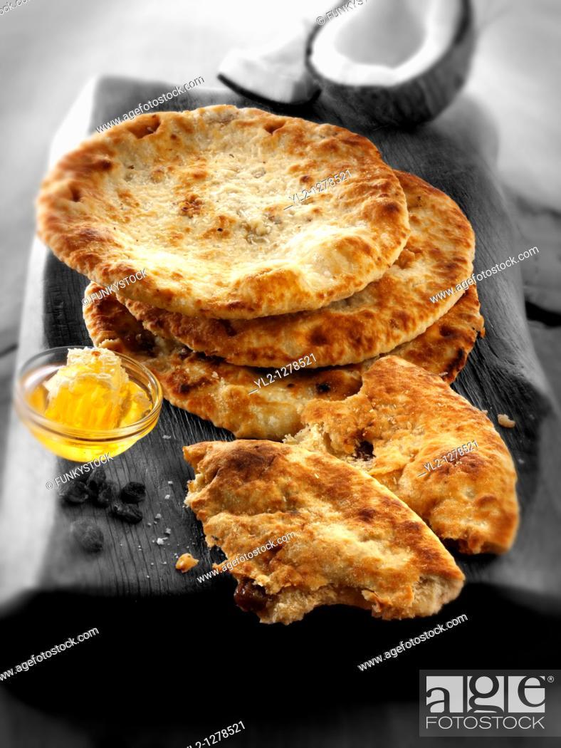 Stock Photo: Peshwari naan bread.