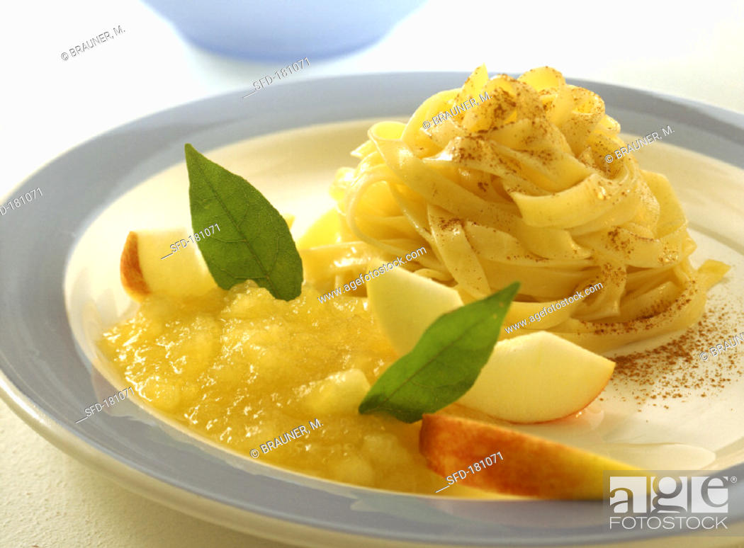 Stock Photo: Pasta with apple compote.