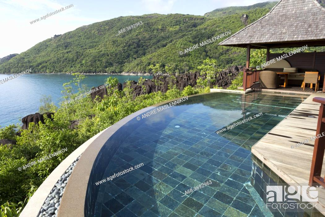 Stock Photo: Pool in Constance Hotel Ephelia in Mahe, Seychelles. Part of Morne Seychellois National Park.
