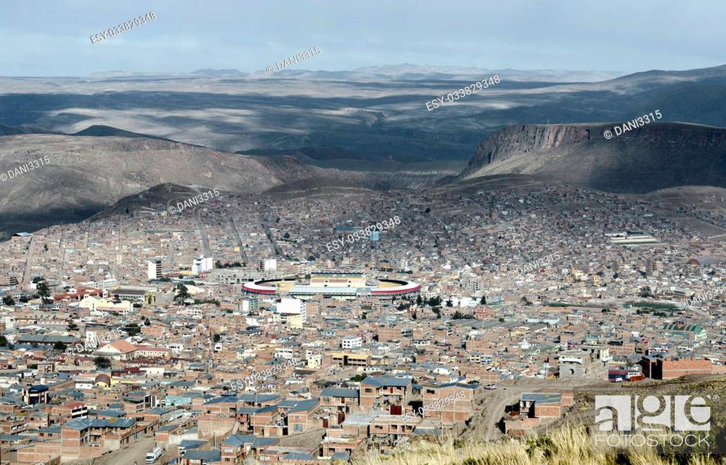 Stock Photo: Panoramic view of Potosi (UNESCO) surrounded by the Andes Mountain in Bolivia - one of the highest cities in the world (4070m).