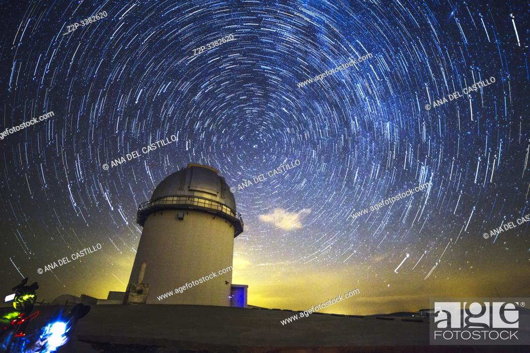 Stock Photo: Arcos de las Salina Teruel Aragon Spain on August 2019: Startrails in the astronomical observatory of Javalambre for shooting the milky way and stars in a.