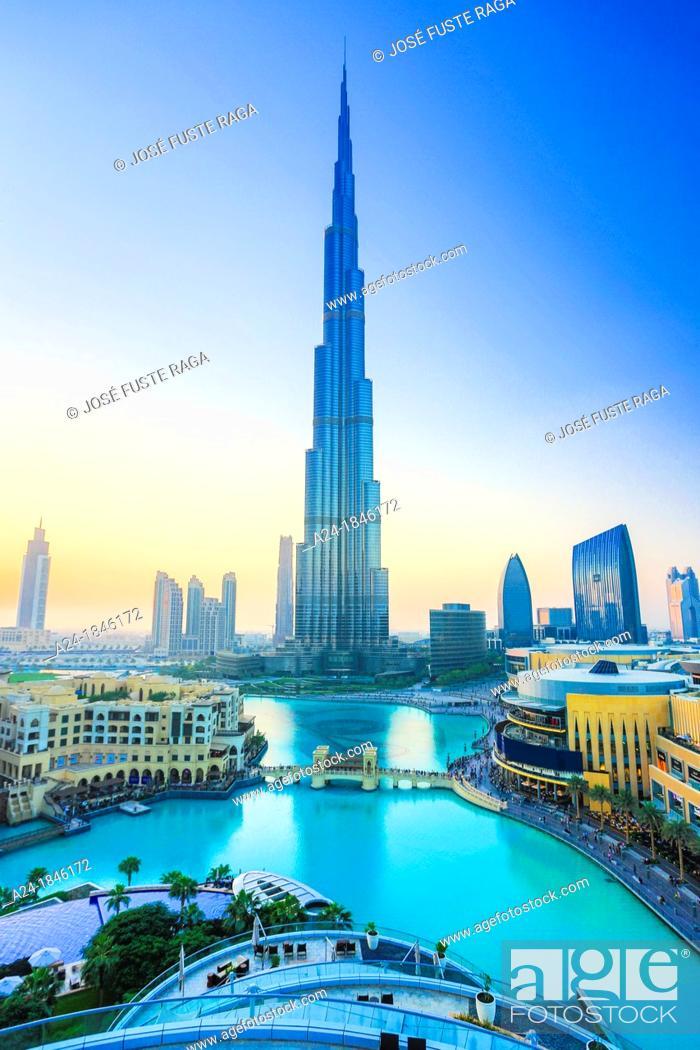 Stock Photo: United Arab Emirates UAE , Dubai City , Down Town Dubai , Burj Khalifa Bldg.