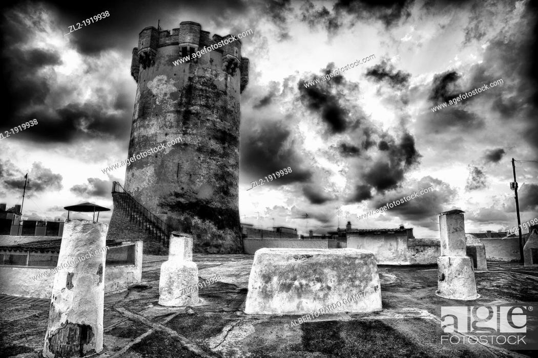 Stock Photo: Tower above houses, Paterna, Valencia province, Comunidad Valenciana, Spain.