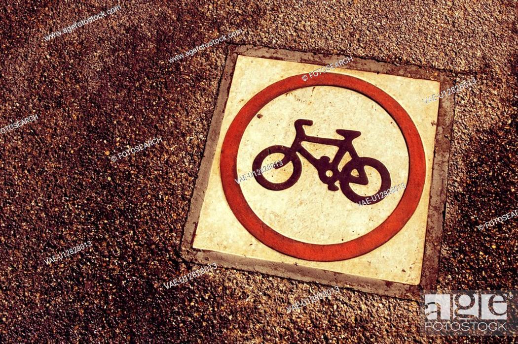 Stock Photo: Bicycle, Circle, Day, Grey, Indication.