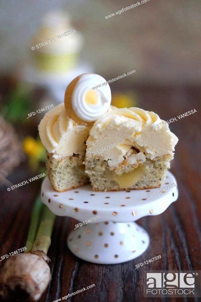 Stock Photo: Lemon and poppyseed cupcakes for Easter.