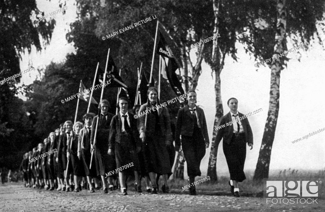 Stock Photo: German maidens for Hitler marching.