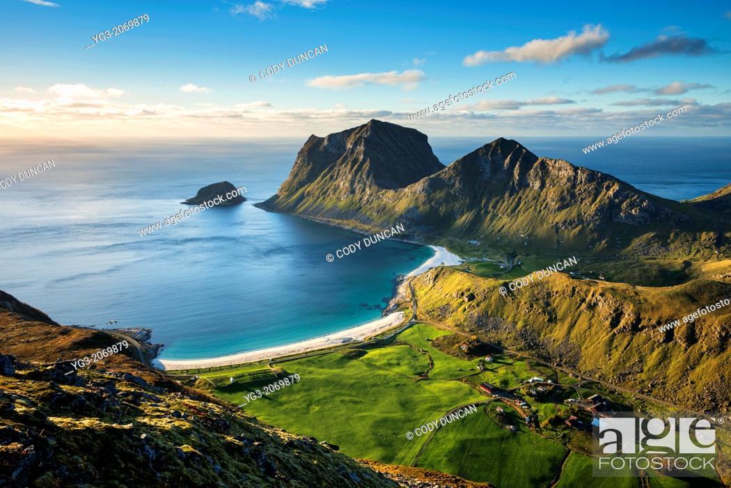 Stock Photo: View of Vik and Haukland beaches from summit of Holandsmelen mountain peak, Vestvagoy, Lofoten Islands, Norway.
