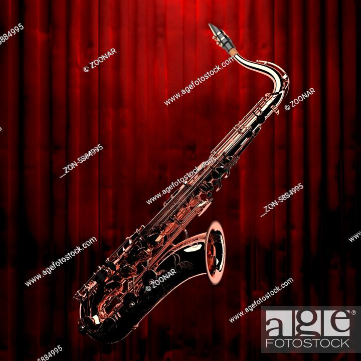 Stock Photo: saxophone and red curtain.